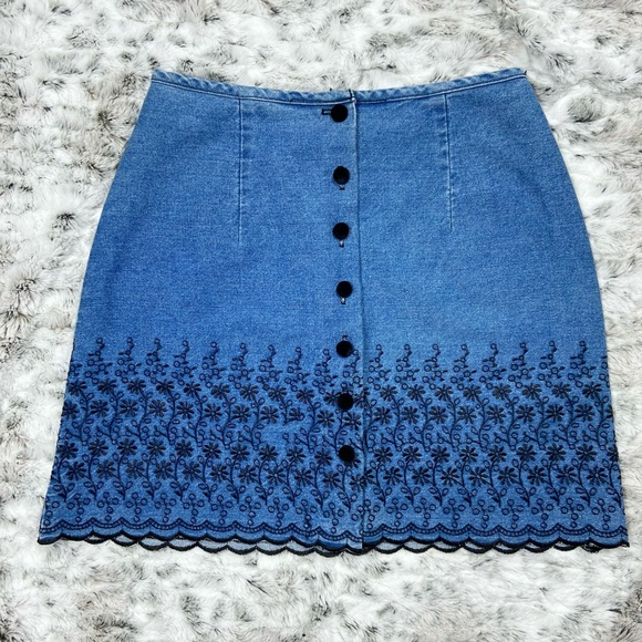 Vintage Denim Floral Embroidered Button Down Skirt